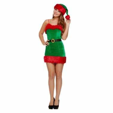 Groen/rode sexy kerstelf jurk met kerstmuts voor dames